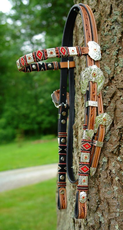 What Is Leather Made Of >> Beaded Show Headstalls
